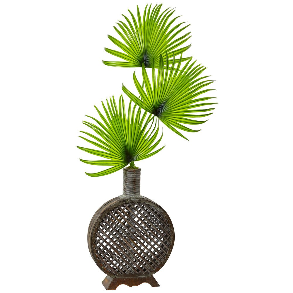 Nearly Natural Silk Artificial Fan Palm in Open Weave Vase (Silk Plant)