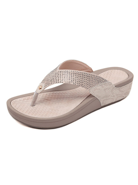Milanoo Flat Sandals For Woman Rhinestones PU Leather Casual Thong Sandals