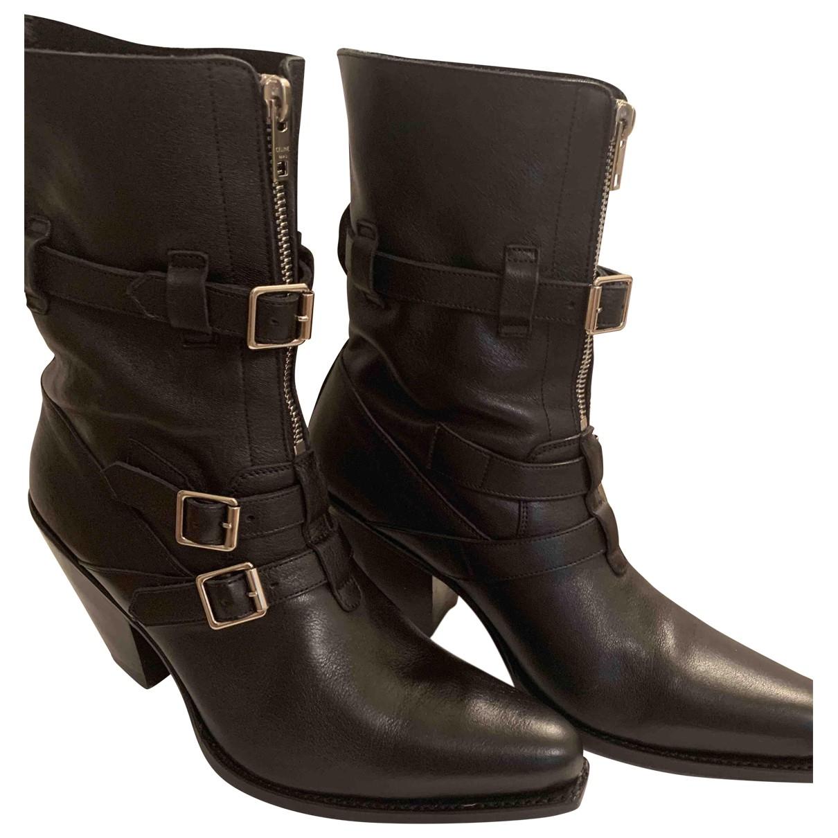 Celine - Boots Berlin pour femme en cuir - noir