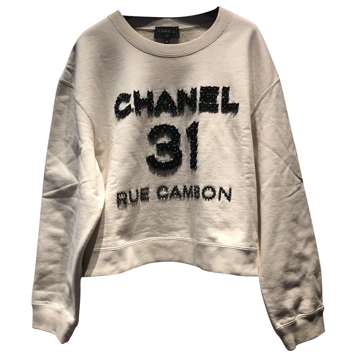 Chanel - Pull   pour femme en coton - ecru