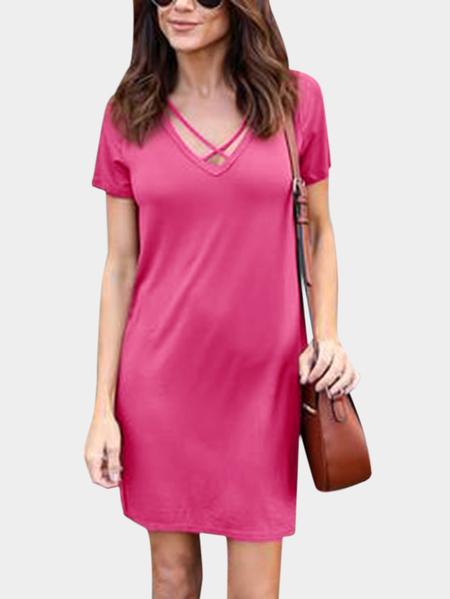Yoins Rose Lace-up Design V Neck Short Sleeves Dresses
