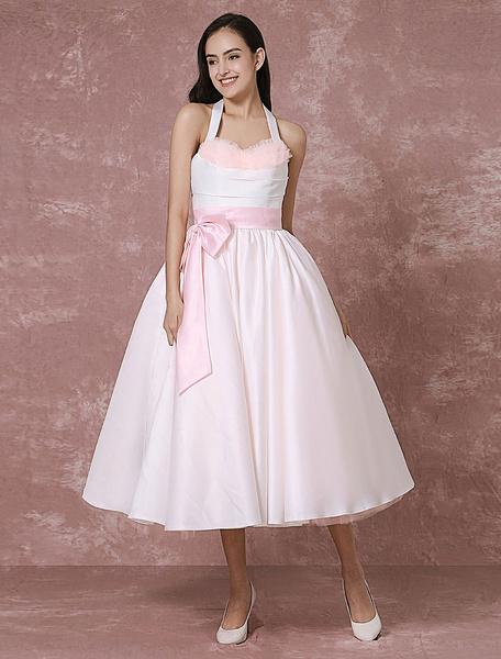 Milanoo Vintage Wedding Dress Pink Tulle Short Bridal Gown Halter Satin Ribbon Sash Ball Gown Tea-length Bridal Dress