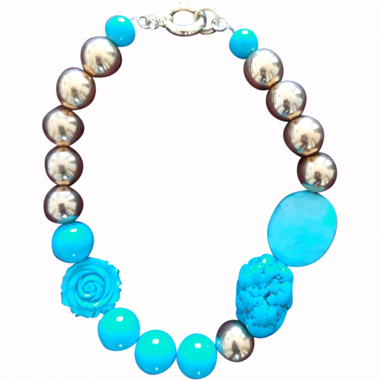 Non Signé / Unsigned Turquoises Turquoise Metal necklace for Women \N
