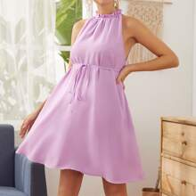 Maternity Frill Neck Belted Halter Dress
