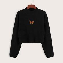 Pullover mit Schmetterling Muster Flicken und sehr tief angesetzter Schulterpartie