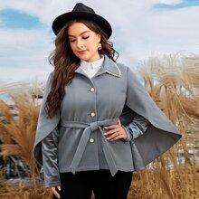 Plus Pearls Beaded Belted Cape Coat