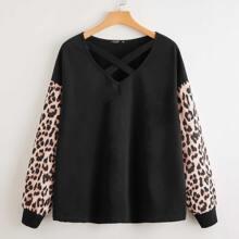 Plus Crisscross Neck Leopard Panel Sweatshirt
