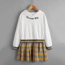 Sweatshirt Kleid mit Kontrast Karo Muster, Falten und Buchstaben Grafik