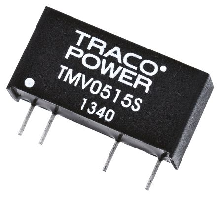 TRACOPOWER TMV 1W Isolated DC-DC Converter Through Hole, Voltage in 4.5 → 5.5 V dc, Voltage out 15V dc