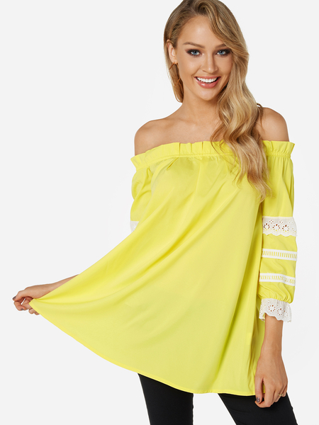 Yoins Yellow Lace Insert Off The Shoulder Lantern Sleeves Top