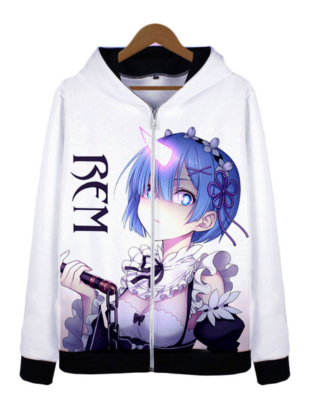 Milanoo Re:Zero Starting Life In Another World White Rem Anime Cosplay Cotton Blend Hoodie Halloween