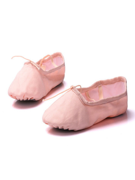 Milanoo Ballet Dance Shoes Canvas Round Toe Criss Cross Dance Shoes For Kids