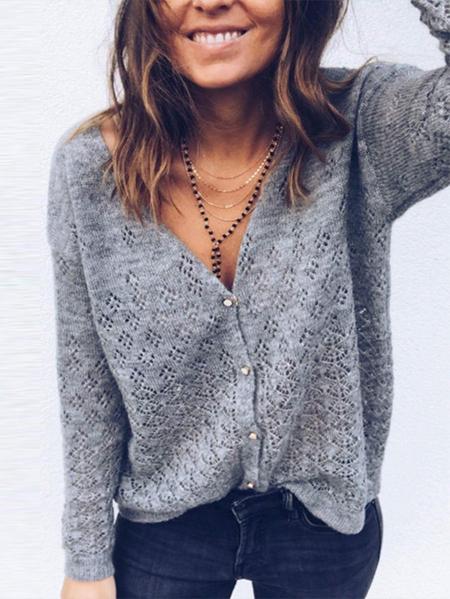 Yoins Grey Button Design V-neck Long Sleeves Sweater