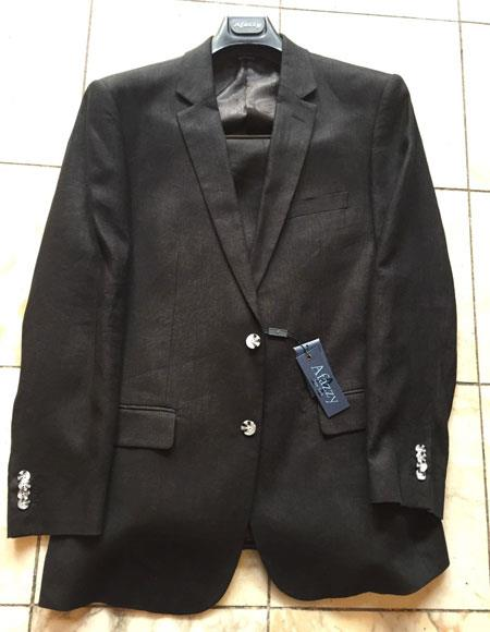 Mens Black Single Breasted 2Buttons 100% Linen Modern Fit lined suit