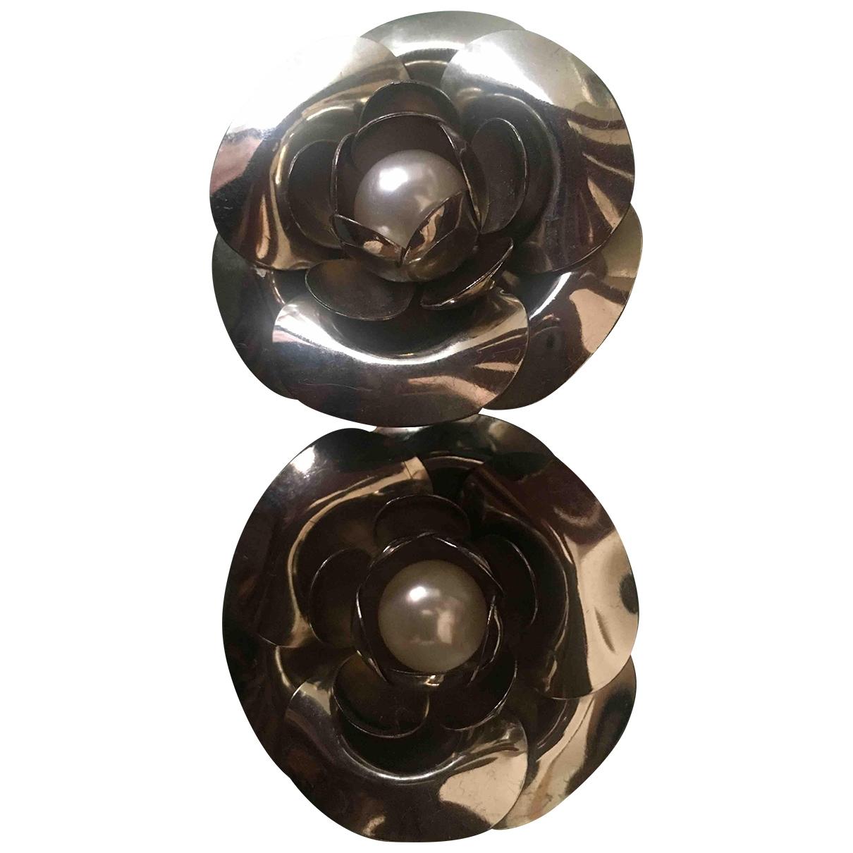 Non Signé / Unsigned Motifs Floraux Silver Metal Earrings for Women \N
