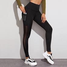 Sports Leggings mit Netzeinsatz, breitem Taillenband und Handytasche