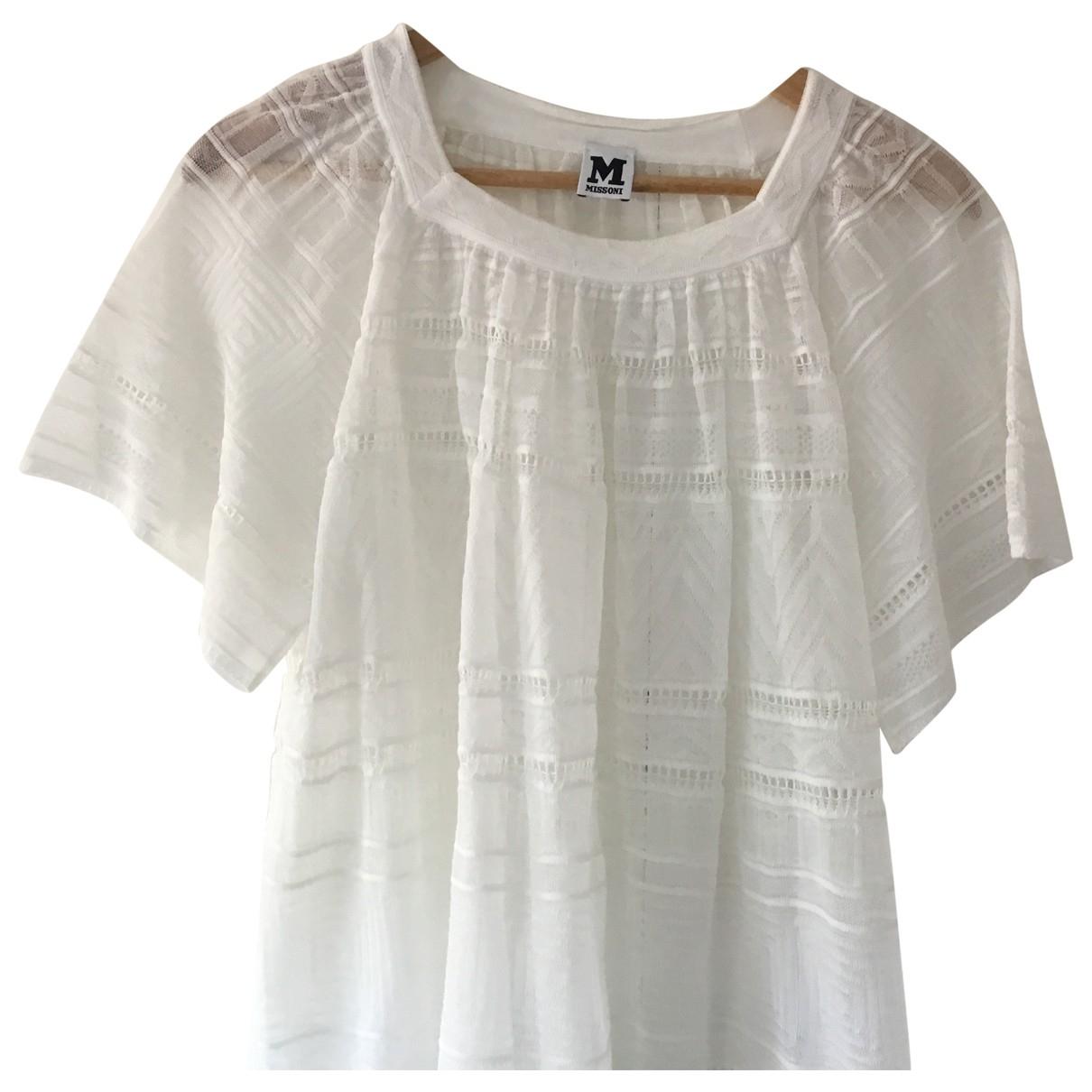M Missoni - Top   pour femme en coton - blanc