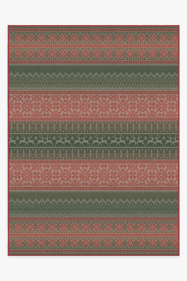 Washable Rug Cover & Pad | Fair Isle Multicolor Rug | Stain-Resistant | Ruggable | 9'x12'