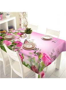Pink Polyester Flower and Butterfly Pattern 3D Tablecloth