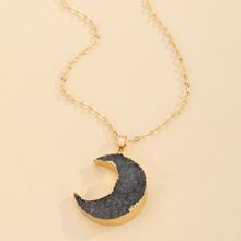 1pc Resin Moon Pendant Necklace