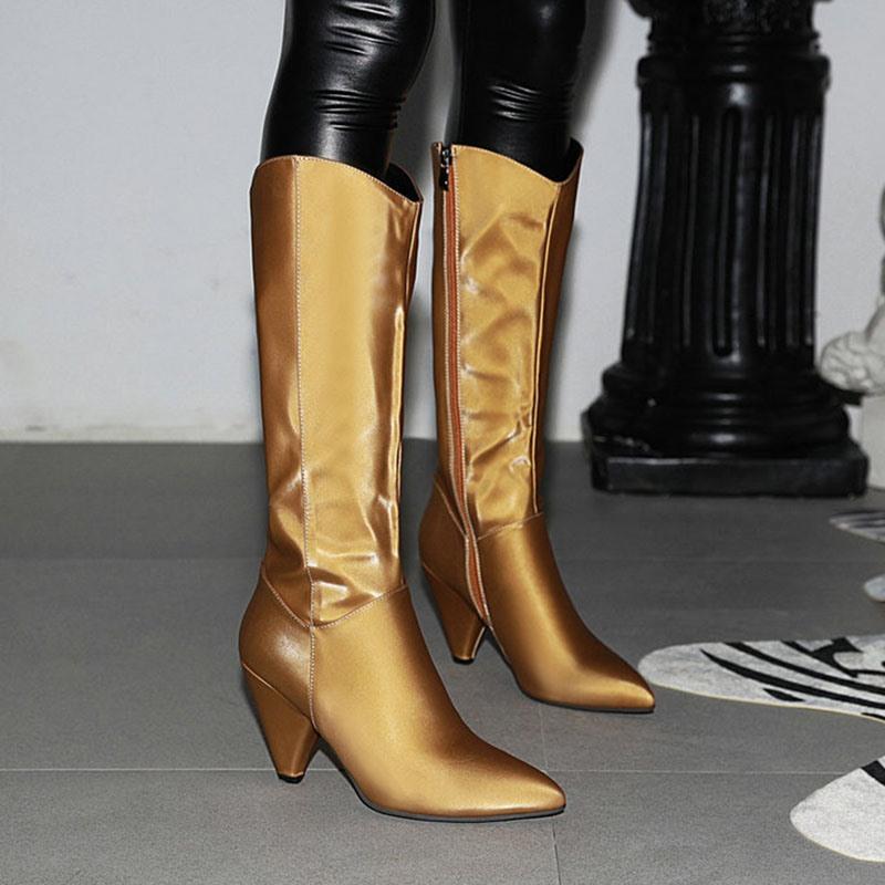 Ericdress Cone Heel Side Zipper Plain Korean Boots