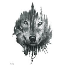 Taetowierungsaufkleber mit Wolf Gesicht Muster