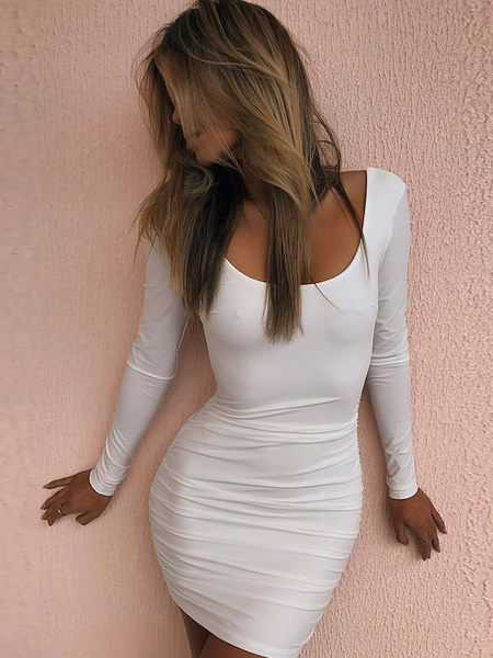 Milanoo Sexy Bodycon Dress Long Sleeve Party Dress Scoop Neck Backless Shaping Mini Dress
