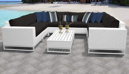 Miami Collection MIAMI-09c-BLACK Miami 9-Piece Patio Set 09c with 2 Corner Chair   4 Armless Chair   1 Coffee Table   1 Left Arm Chair   1 Right Arm