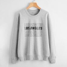 Letter Graphic Round Neck Sweatshirt