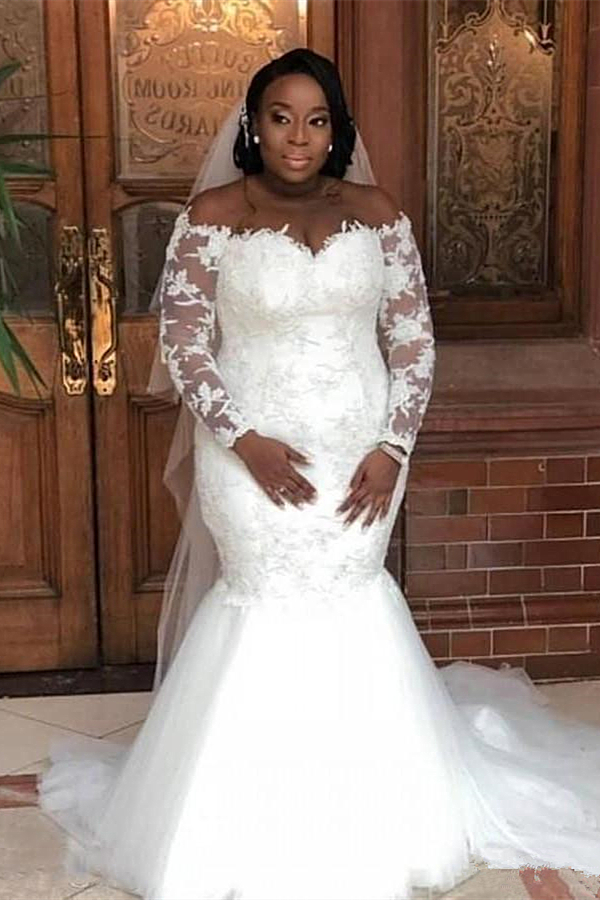 Weisse schulterfreie Brautkleider aus Meerjungfrau mit langen Ärmeln
