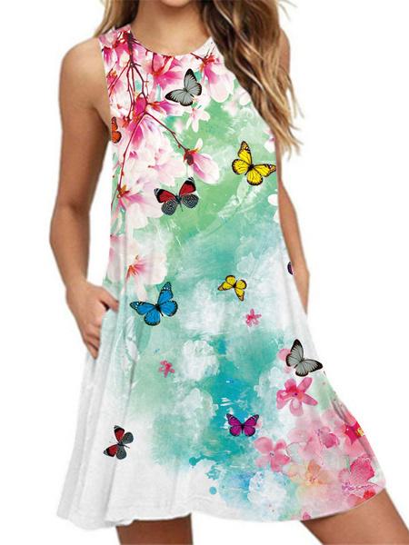 Milanoo Black Short Dress Women Jewel Neck Printed Summer Dress