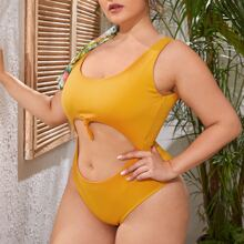 Plus Rib Cut-out Knot Detail One Piece Swimsuit