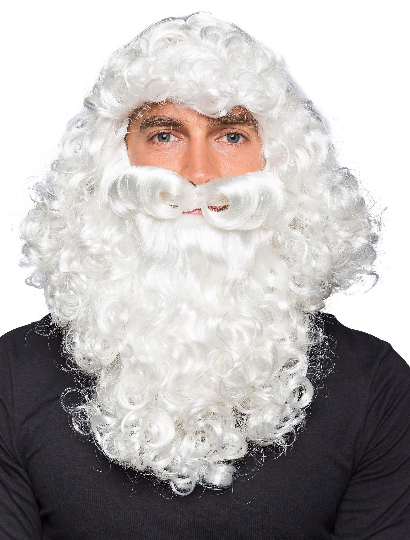 Kostuemzubehor Peruecke Weihnachtsmann mit Bart weiss