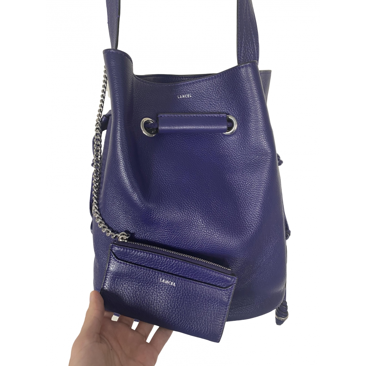 Lancel Huit Purple Leather handbag for Women \N