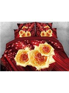 Vivilinen Sparkle Yellow Roses Printed 4-Piece 3D Red Bedding Sets/Duvet Covers