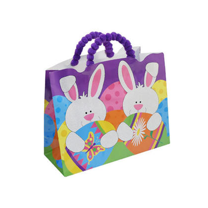 Easter Horizontal Die-Cut Gift Bag with Pom Pom Handle & Glitter 12