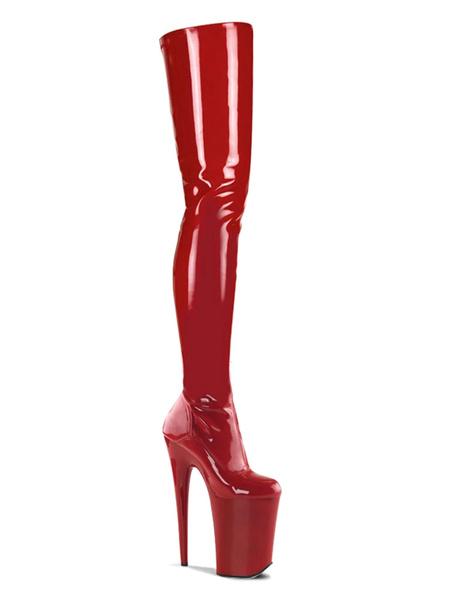Milanoo Sexy High Heel Boots Round Toe Zipper Stiletto Heel Rave Club Black Thigh High Boots