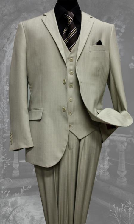 2 Button 3 Piece With Vest Super 130s Wool Suit