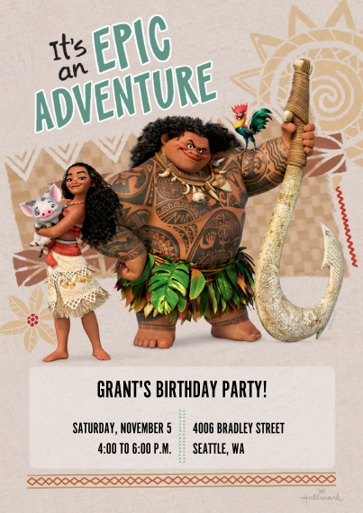 Kids Birthday Party Invites 5x7 Cards, Standard Cardstock 85lb, Card & Stationery -Epic Adventure - Moana