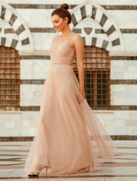 Milanoo Tulle Prom Dress 2020 Straps Pleat Floor Length Bridesmaid Social Party Dresses