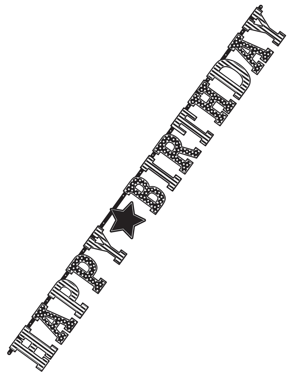 Girlande XXL Birthday schwarz/weiss 335cm