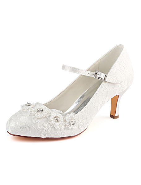 Milanoo Vintage Wedding Shoes Lace Round Toe Flowers Beaded Mary Jane Shoes High Heel Bridal Shoes