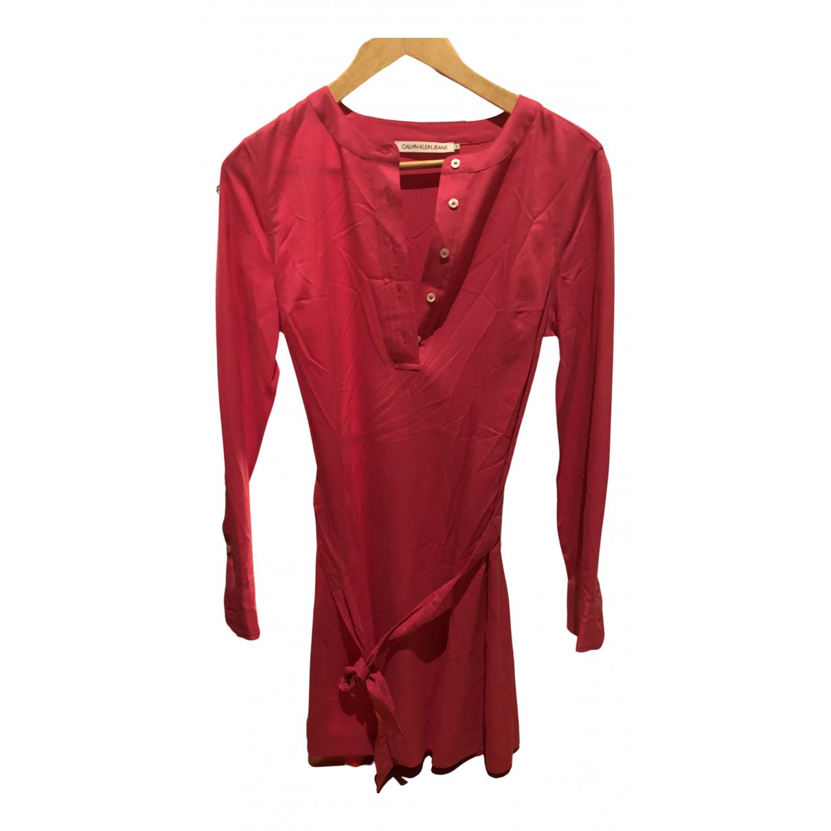 Calvin Klein \N Kleid in  Rosa Baumwolle