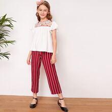 Girls Floral Lace Yoke Top & Striped Belted Pants Set