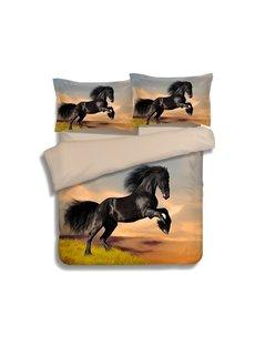 Vivid 3D Dark Horse Print 4-Piece Polyester Duvet Cover Sets