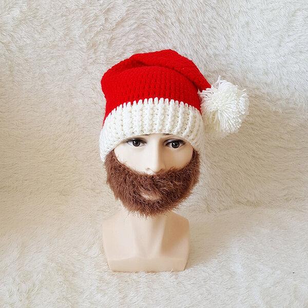 Men Women Winter knitted Santa Claus Beanie Hats Skull Face Mask Beard Hat For Christmas Gift