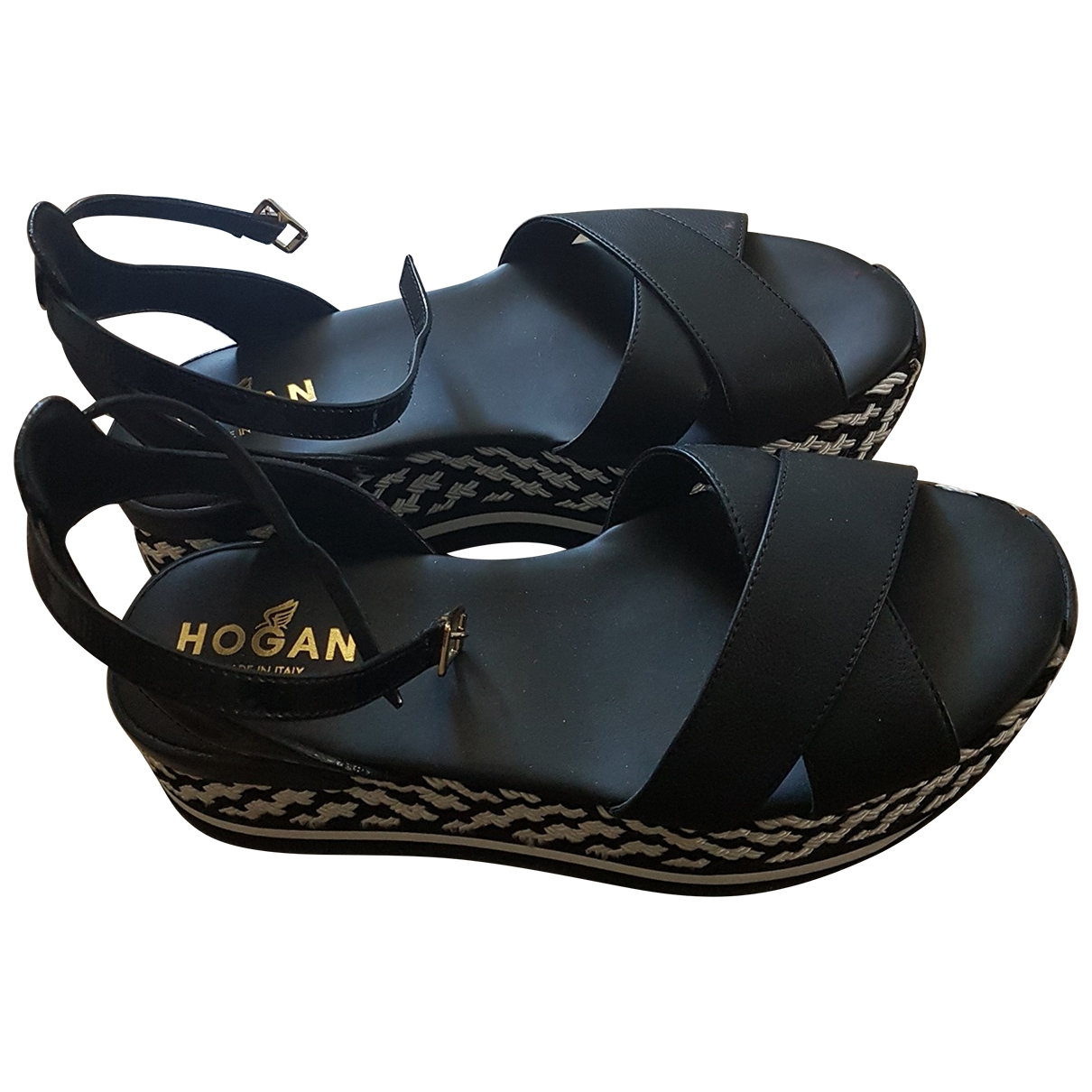 Hogan \N Sandalen in  Schwarz Leder