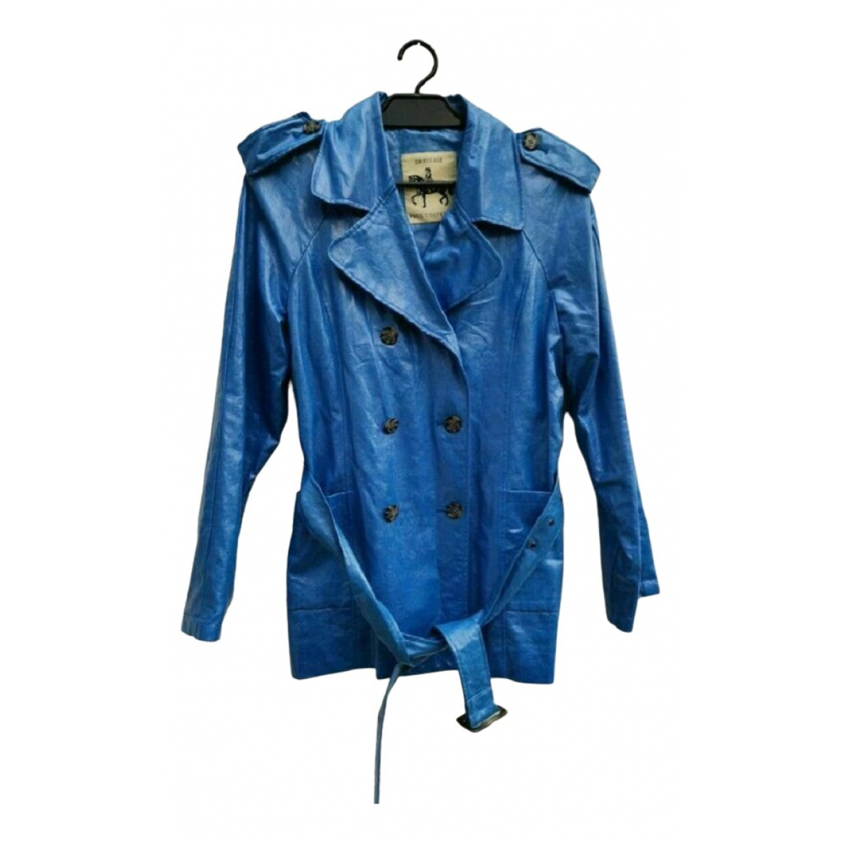 Non Signé / Unsigned N Blue Linen coat for Women M International