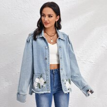 Floral Embroidery Frayed Hem Denim Jacket