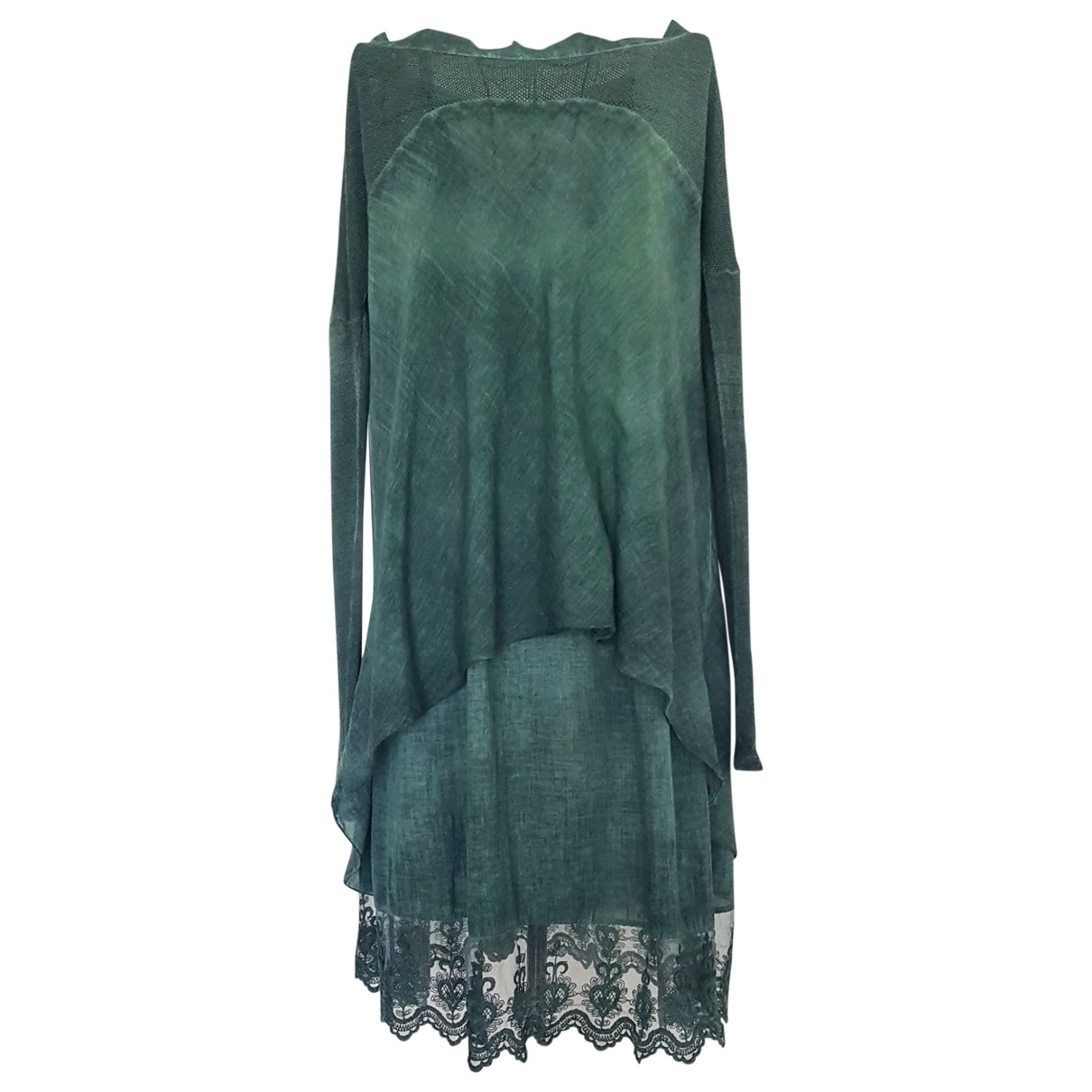 Non Signé / Unsigned Hippie Chic Green Cotton dress for Women One Size FR
